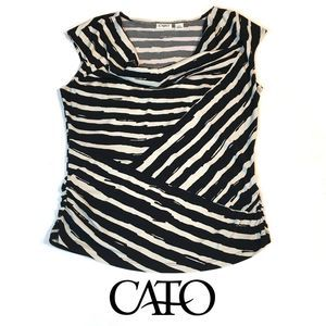 Cato Fitted Cowl Neck Top with Ruched Sides